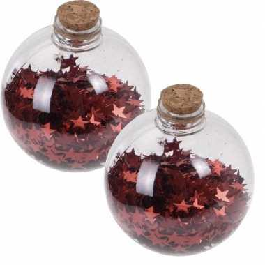 2x kerstballen transparant/rood 8 cm met rode sterren kunststof kerstboom versiering/decoratie