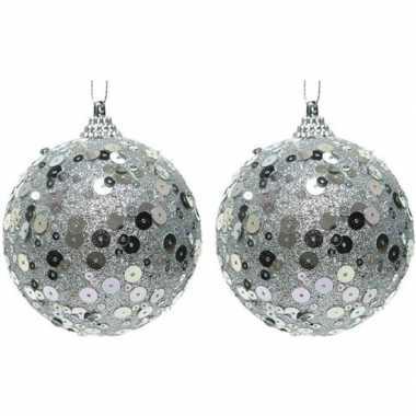 2x kerstballen zilveren glitters 8 cm met pailletten kunststof kerstboom versiering/decoratie