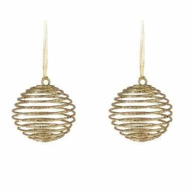 2x kerstornamenten kersthangers gouden spiraal kerstballen 10 cm