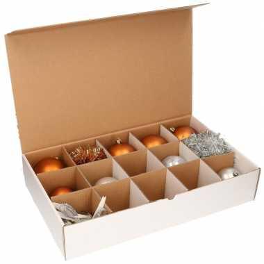 2x kerstversiering opbergen doos met deksel voor 10 cm kerstballen