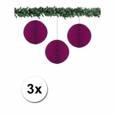 3 aubergine paarse papieren kerstballen 10 cm