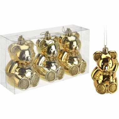3 beren kerstballen 5 cm goud