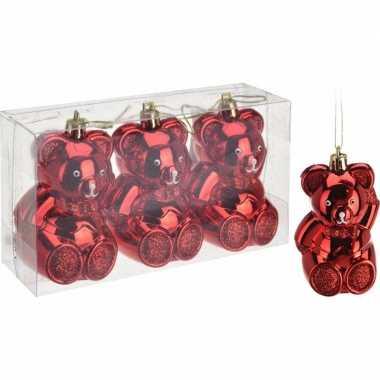 3 beren kerstballen 5 cm rood