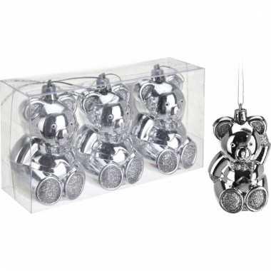 3 beren kerstballen 5 cm zilver