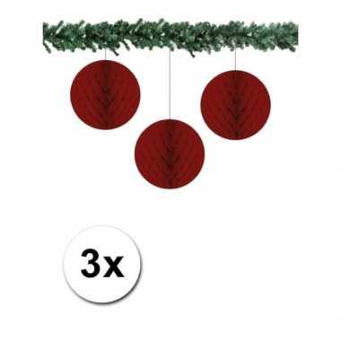 3 bordeaux papieren kerstballen 10 cm