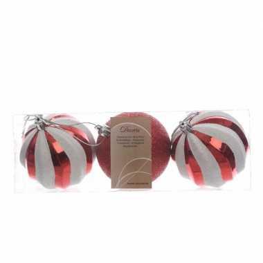 3-delige kerstballenset rood/wit 8 cm