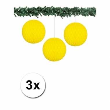 3 gele papieren kerstballen 10 cm