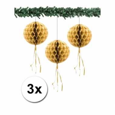 3 honeycomb kerstballen goud 30 cm
