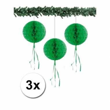 3 honeycomb kerstballen groen 30 cm