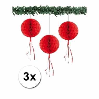 3 honeycomb kerstballen rood 30 cm
