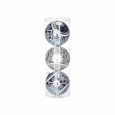 3 kerstballen met sierlijke print 15 cm