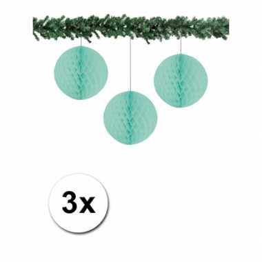 3 mint papieren kerstballen 10 cm