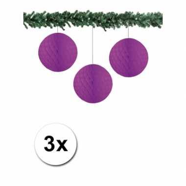 3 paarse papieren kerstballen 10 cm