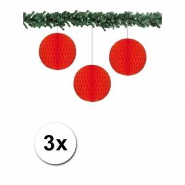 3 rode papieren kerstballen 10 cm