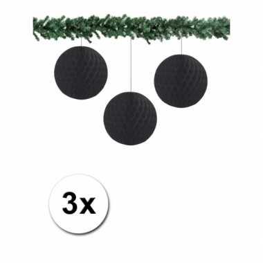 3 zwarte papieren kerstballen 10 cm