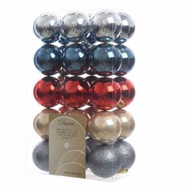 30-delige kerstballen set blauw/rood