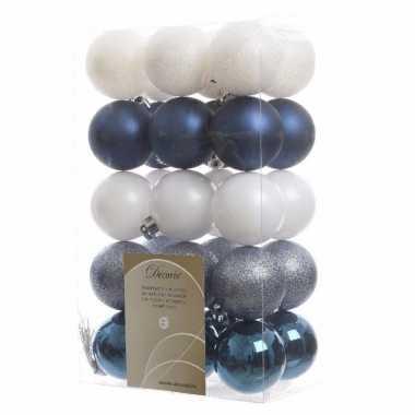 30 delige kerstballen set blauw wit
