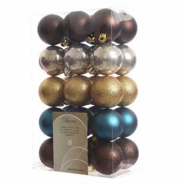 30 delige kerstballen set bruin goud