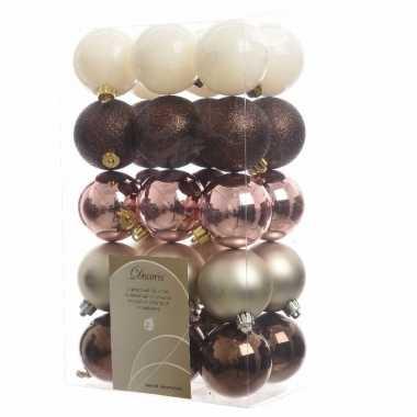 30 delige kerstballen set bruin roze