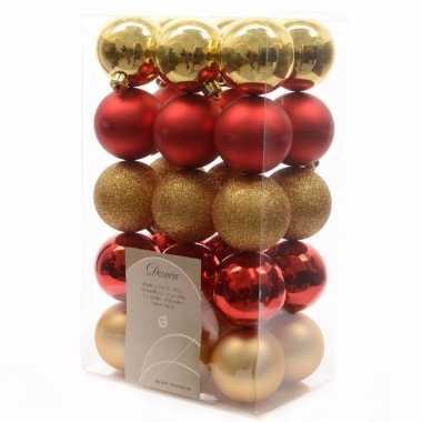 30 delige kerstballen set goud rood