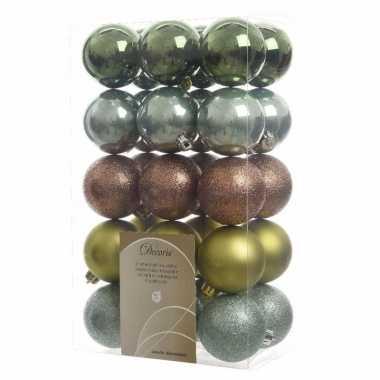 30-delige kerstballen set groen/bruin