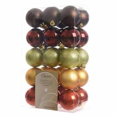 30 delige kerstballen set rood bruin