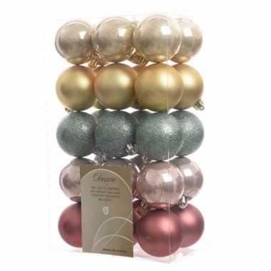 30 delige kerstballen set roze goud