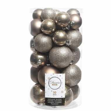 30x kunststof kerstballen glanzend/mat/glitter kasjmier bruine kerstboom versiering/decoratie