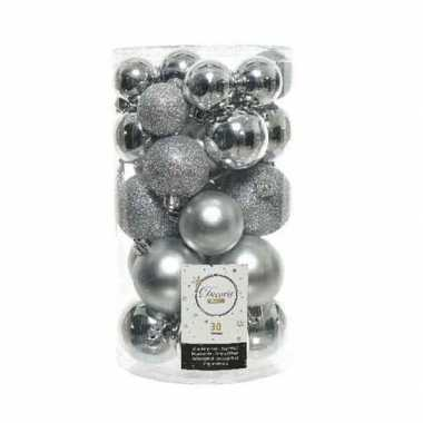 30x kunststof kerstballen glanzend/mat/glitter zilver kerstboom versiering/decoratie