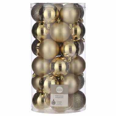 30x kunststof kerstballen goud 6 cm