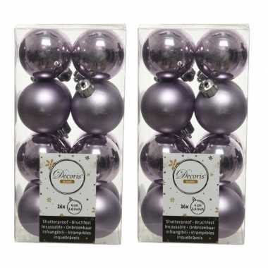 32x kunststof kerstballen glanzend/mat lila paars 4 cm kerstboom versiering/decoratie
