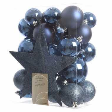 33-delige kerstballen set blauw