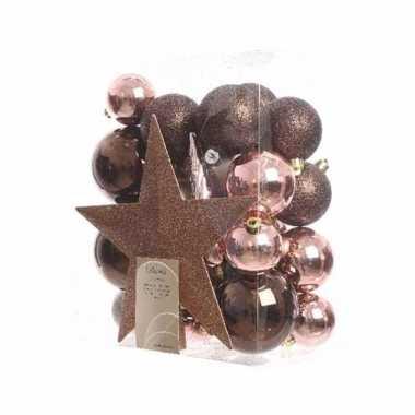33 delige kerstballen set bruin roze