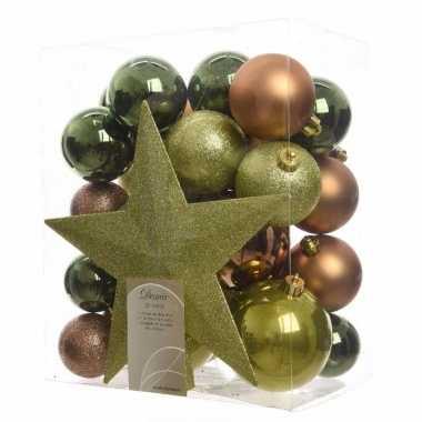 33-delige kerstballen set groen/bruin
