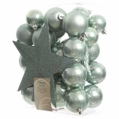 33-delige kerstballen set mint groen