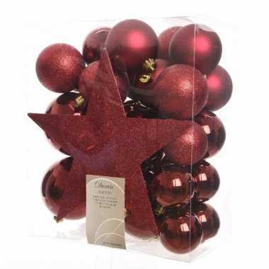 33-delige kerstballen set rood
