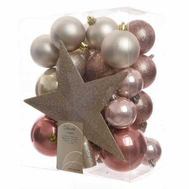33 delige kerstballen set roze parel
