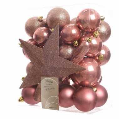 33-delige kerstballen set roze