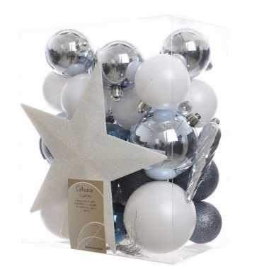 33-delige kerstballen set wit/blauw