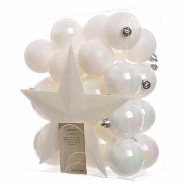 33-delige kerstballen set wit