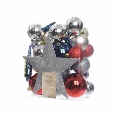 33-delige kerstballen set zilver/rood/blauw