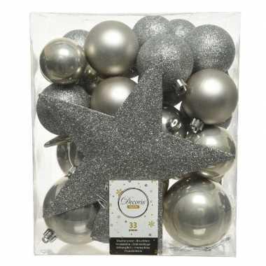 33x kunststof kerstballen mix licht grijs 5-6-8 cm kerstboom versiering/decoratie