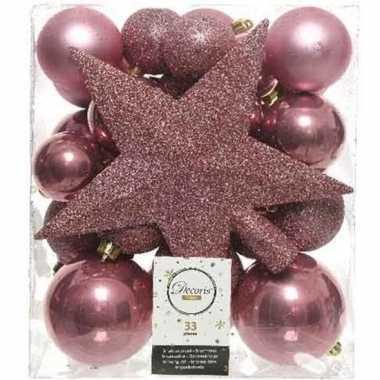 33x kunststof kerstballen mix oud roze 5-6-8 cm kerstboom versiering/decoratie