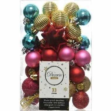 33x kunststof kerstballen mix rood/fuchsia roze/goud/turkoois blauw 3-4 cm kerstboom versiering/decoratie