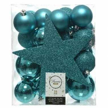 33x kunststof kerstballen mix turquoise blauw 5-6-8 cm kerstboom versiering/decoratie