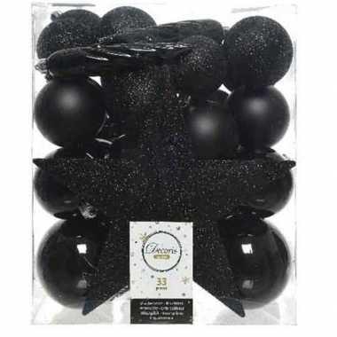 33x kunststof kerstballen mix zwart 5-6-8 cm kerstboom versiering/decoratie