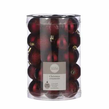 34x kunststof kerstballen donkerrood 4 cm