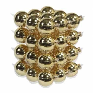 36x glazen kerstballen glans goud 6 cm