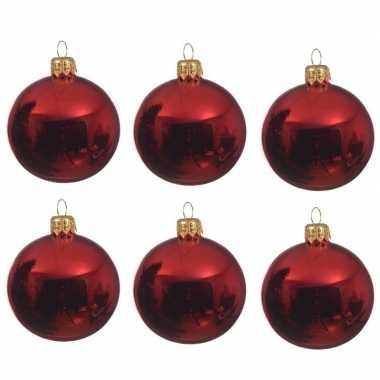 36x glazen kerstballen glans kerst rood 8 cm kerstboom versiering/decoratie