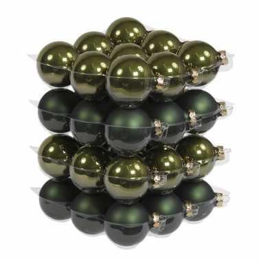 36x glazen kerstballen mat/glans donker olijf 6 cm
